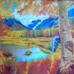 Betulle e bosco giallo - Pittura ad olio su tela Gallery 60x90