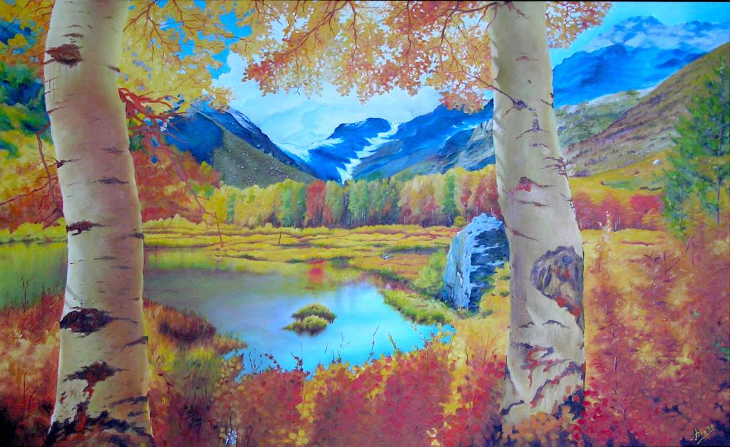 Betulle e bosco giallo Pittura ad olio su tela Gallery - 60x90