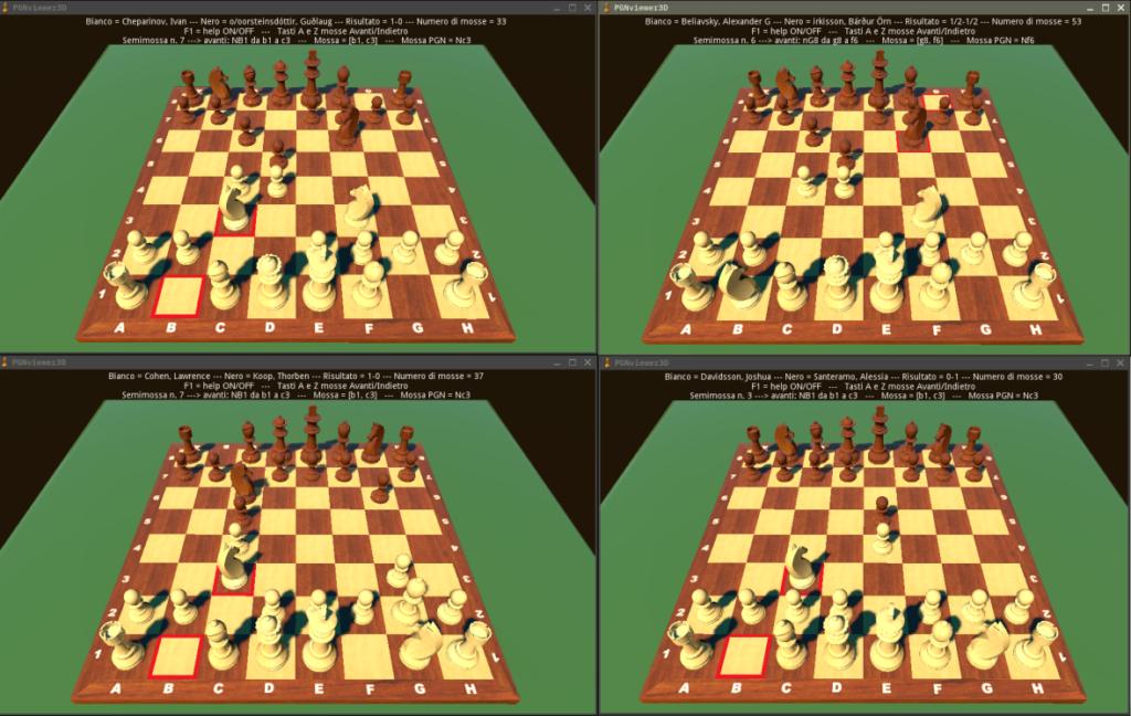 Quattro istanze del programma ognuna con una partita differente.